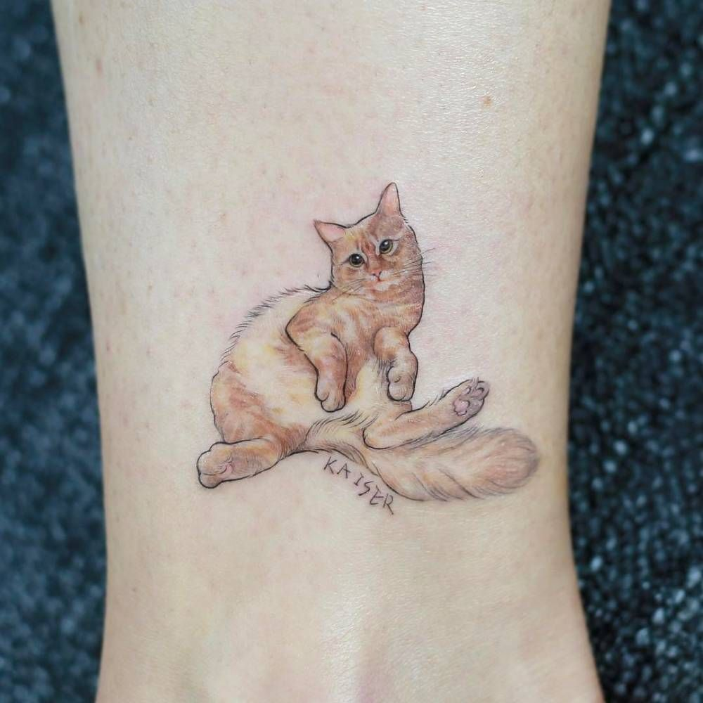 Cat Tattoo On The Ankle Cat Tattoo Designs Small Tattoos Cat Tattoo Small