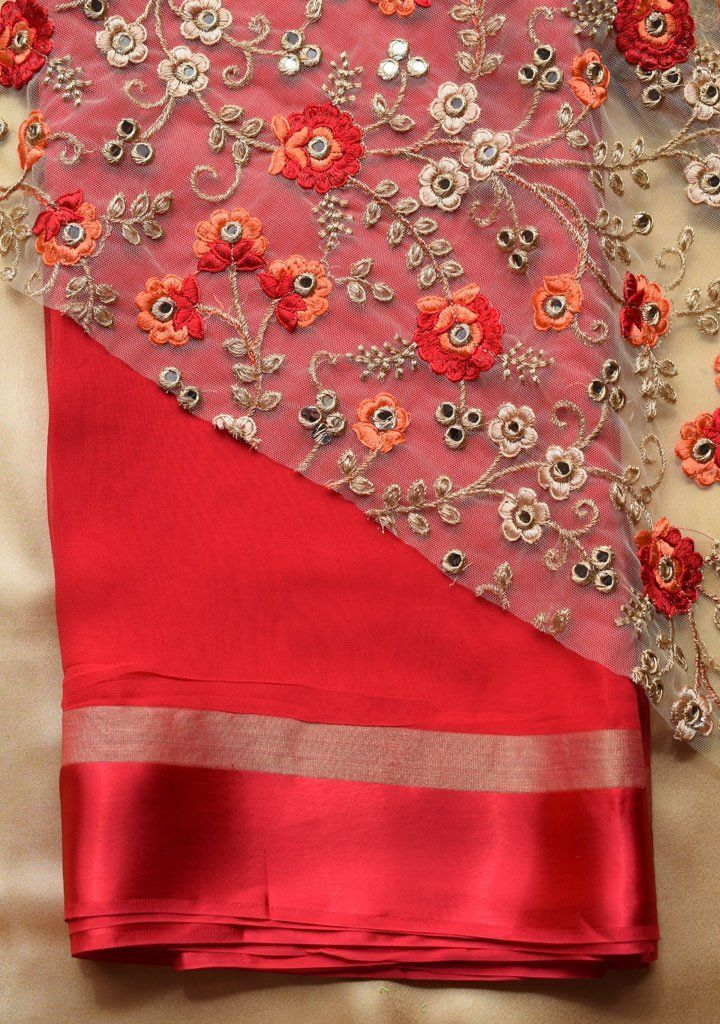 8eafc4cdef030c Red saree with embroidered blouse piece – Rang Mohe   Red Blouse ...