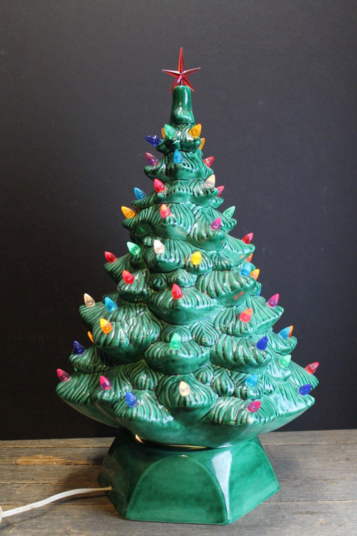 Vintage Green Large Lighted Ceramic Christmas Tree // Multi Colored ...