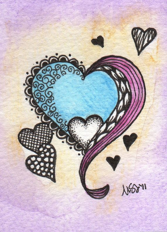 Super Love ACEO watercolor original by EmBoundArt on Etsy, $8.00