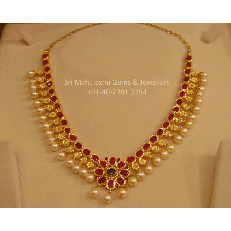 Ruby South Sea Pearls Short Necklace Gold Jewelry Fashion Traditional Jewelry Gold Necklace Designs