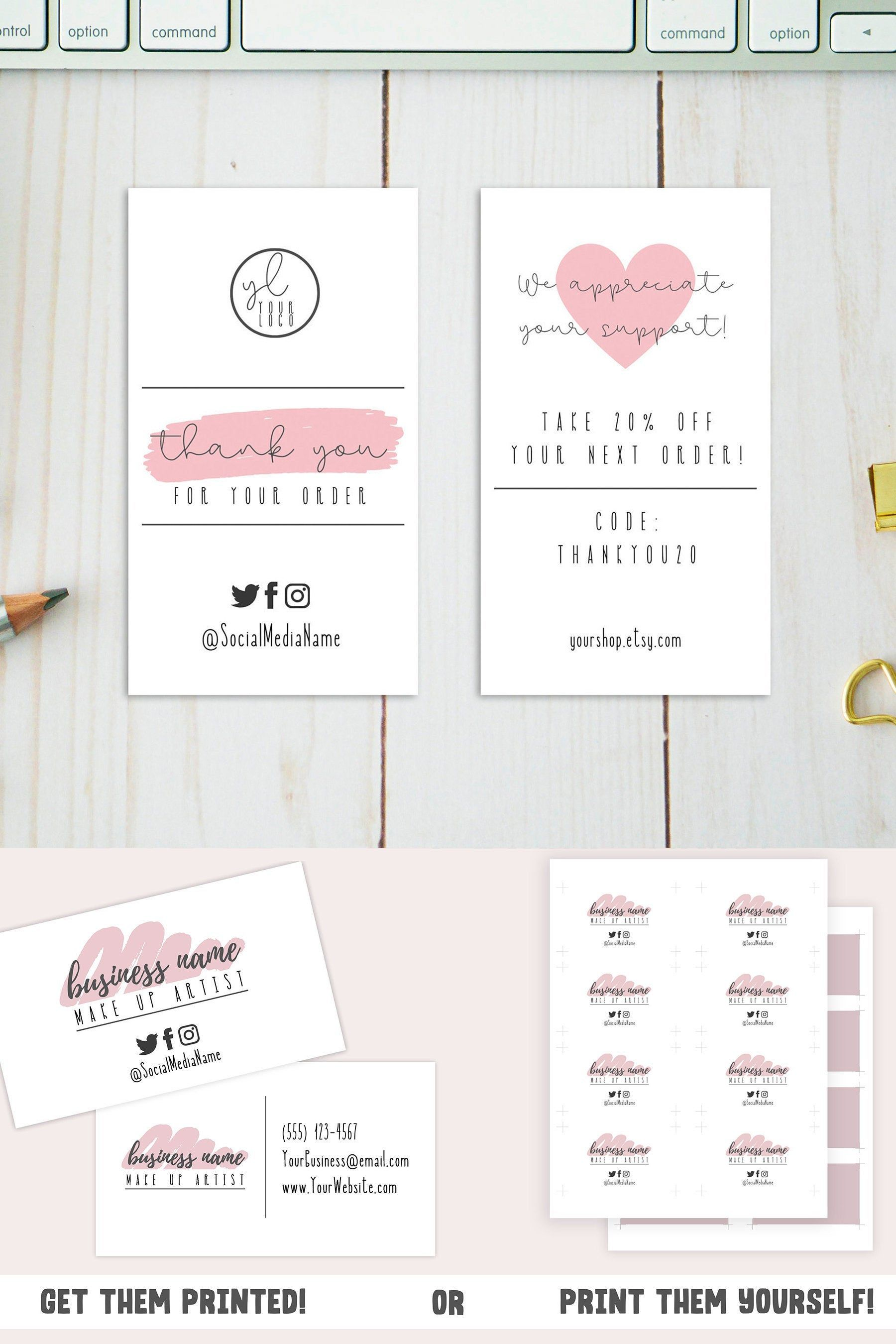 Pink Business Card Template Small Business Card Design W Etsy In 2021 Pink Business Card Small Business Cards Business Cards Diy Templates