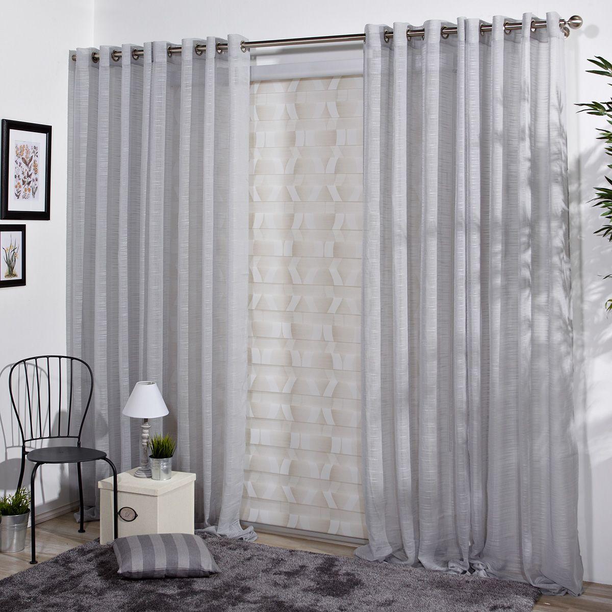 Visillo decorativo abian gris for Cortinas grises