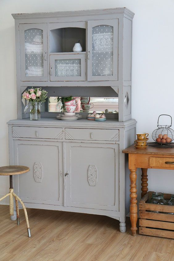 k chenbuffet in grau shabby chic schrank antiker. Black Bedroom Furniture Sets. Home Design Ideas