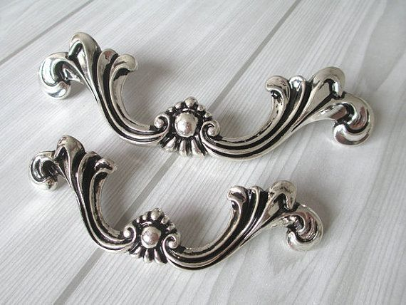 Nice Shabby Chic Dresser Pull Drawer Pulls Door Handles Silver Black French  Country Vintage Furniture Cabinet Knobs