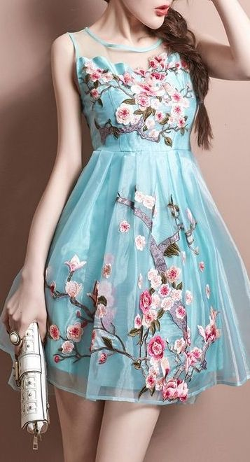 Blossom embroidered dress