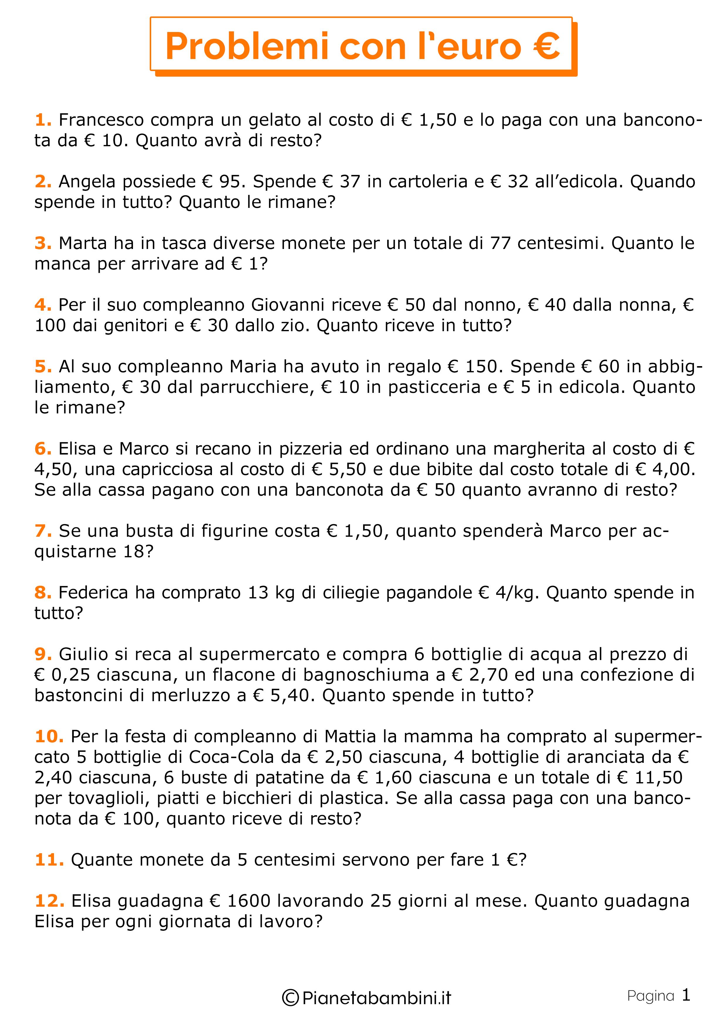 20 Problemi con l'Euro per la Scuola Primaria ...