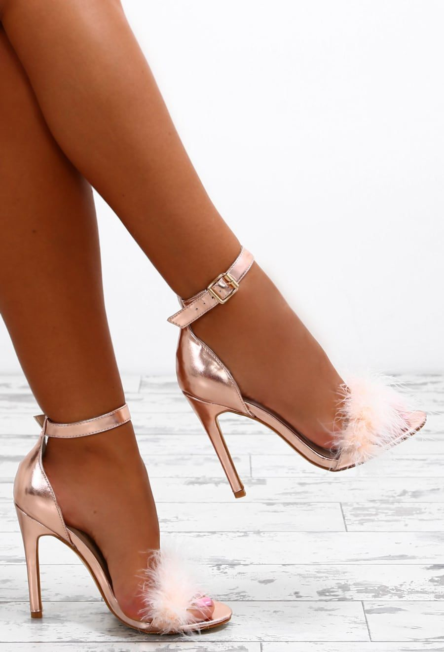 b2ab8f3f3fc2 Stolen Kisses Rose Gold Feather Barely There Heels