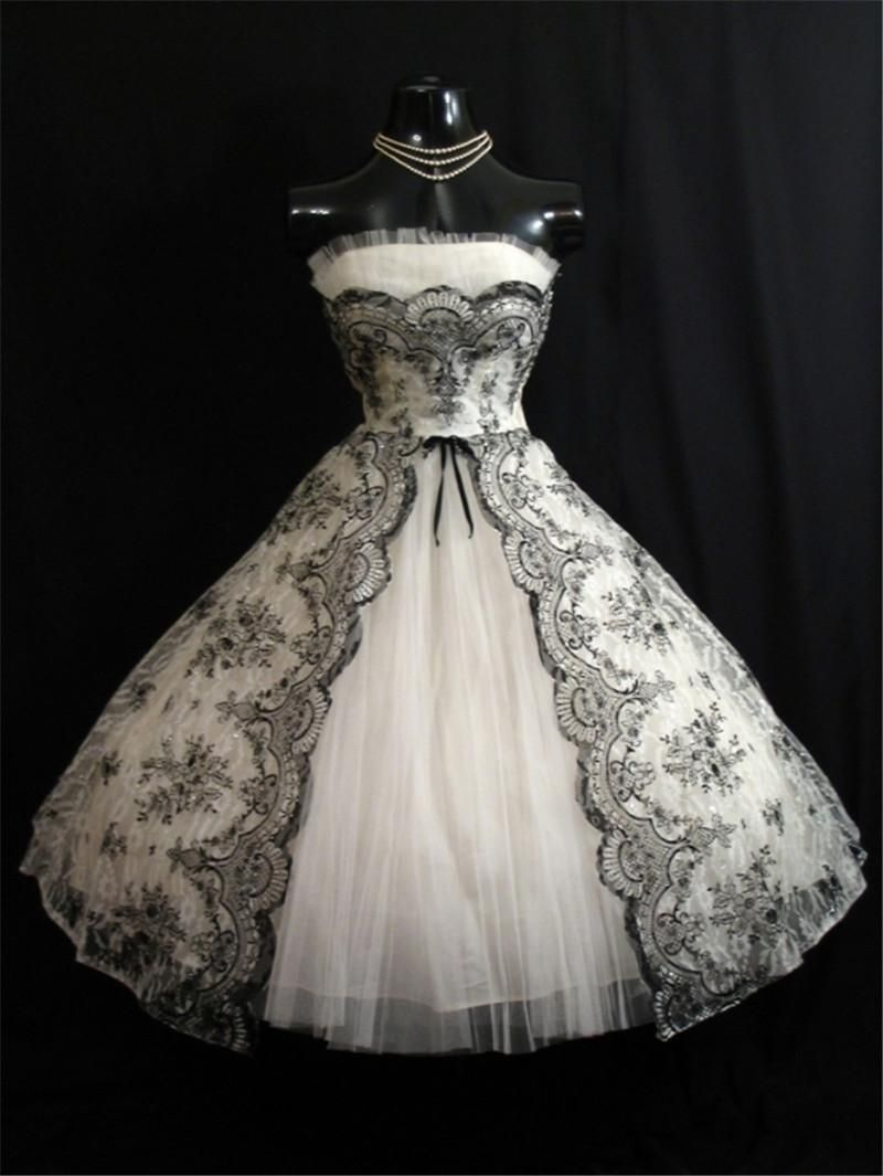Vintage 1950s Black White Short Wedding Dresses 2016 A ...