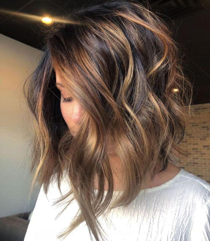 Long Brown Bob With Caramel Highlights The Right Hair Styles Balayage Frisur Haarfarbe Balayage Haarfarben