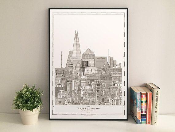 Las torres de Londres es una vista esquemática de los edificios más altos en Londres, entre algunos otros monumentos famosos, yuxtapuestos al lado
