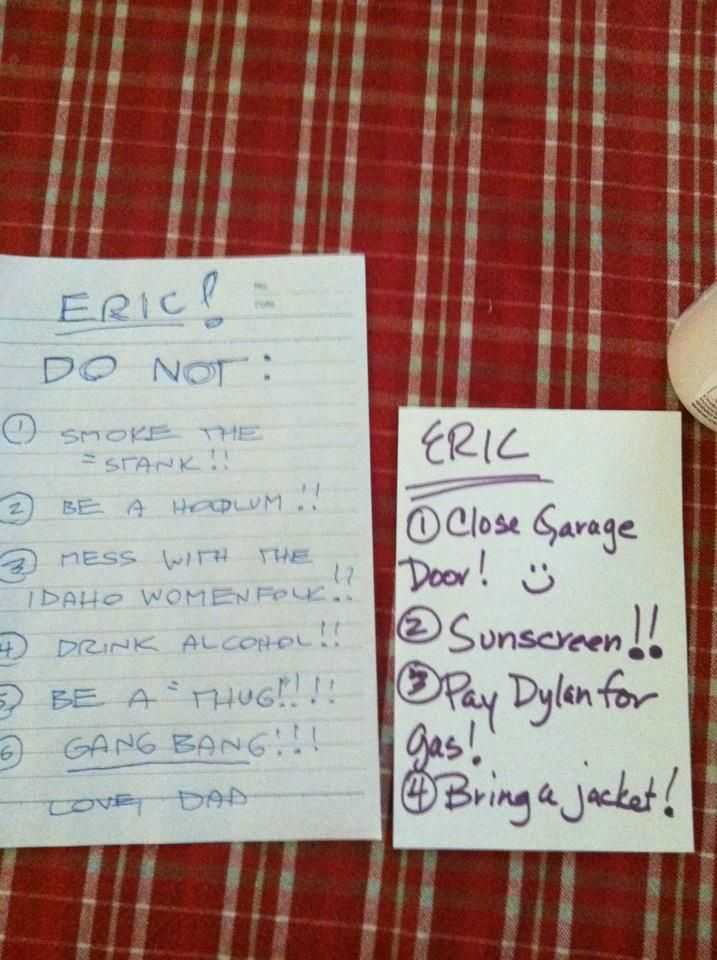 """Redditor mFsCaptcha (whom we assume is """"Dylan"""") says his friend Eric's parents left these messages for the pair, who were about to embark on a road trip to a theme park in Idaho. These adorably concerned-sounding notes reveal two things: Eric's parents have wildly different priorities, and apparently theme parks in Idaho are way more debaucherous than you would think."""