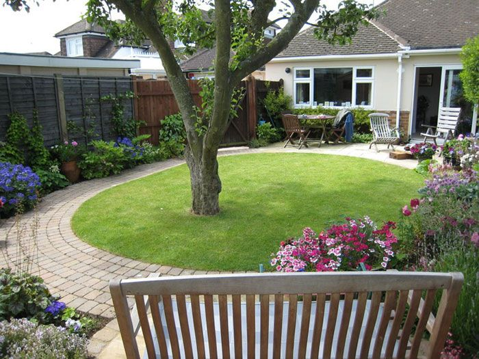 Small garden with tree google search curb appeal and for Small lawn garden ideas