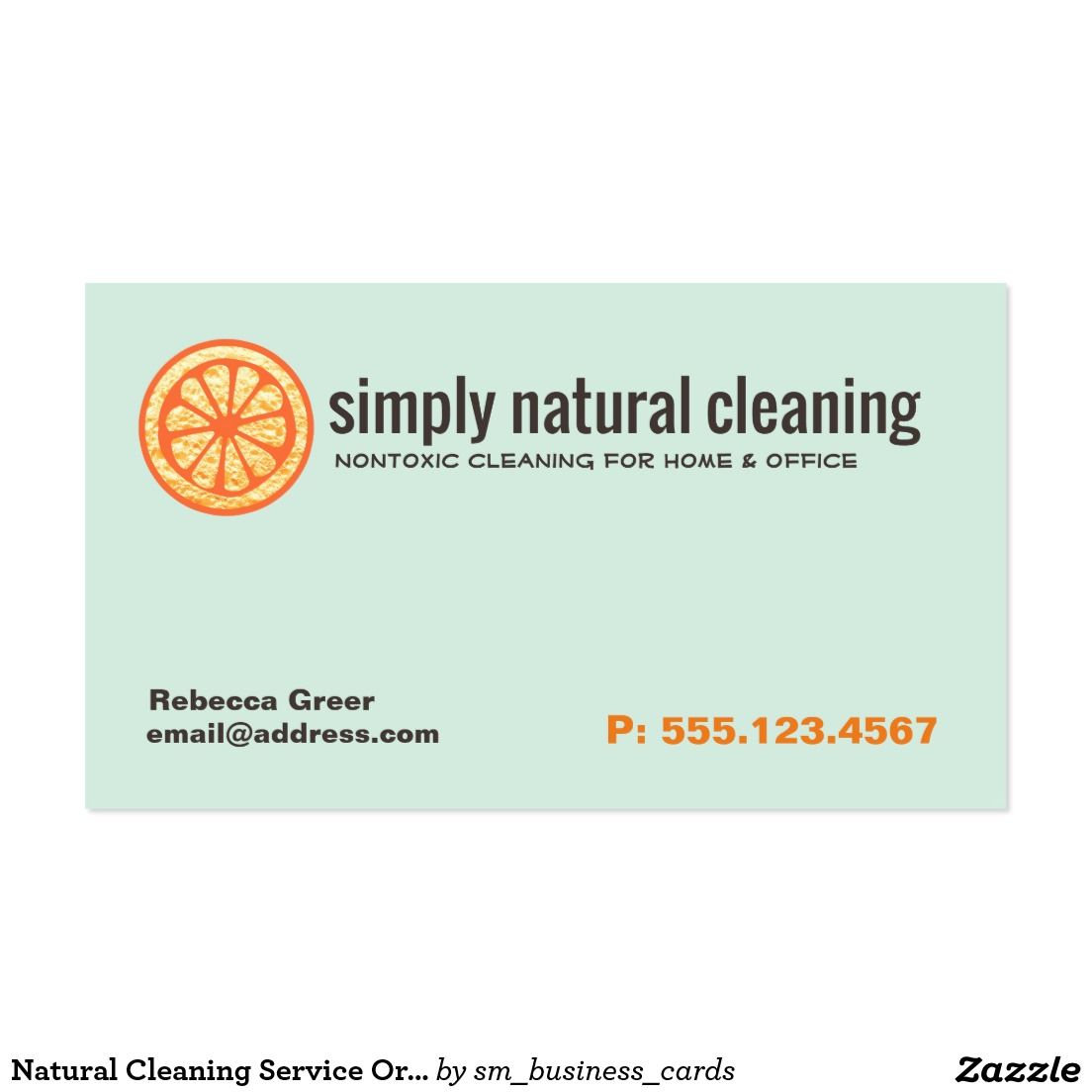 Natural Maid Cleaning Service Orange Sponge Business Card ...