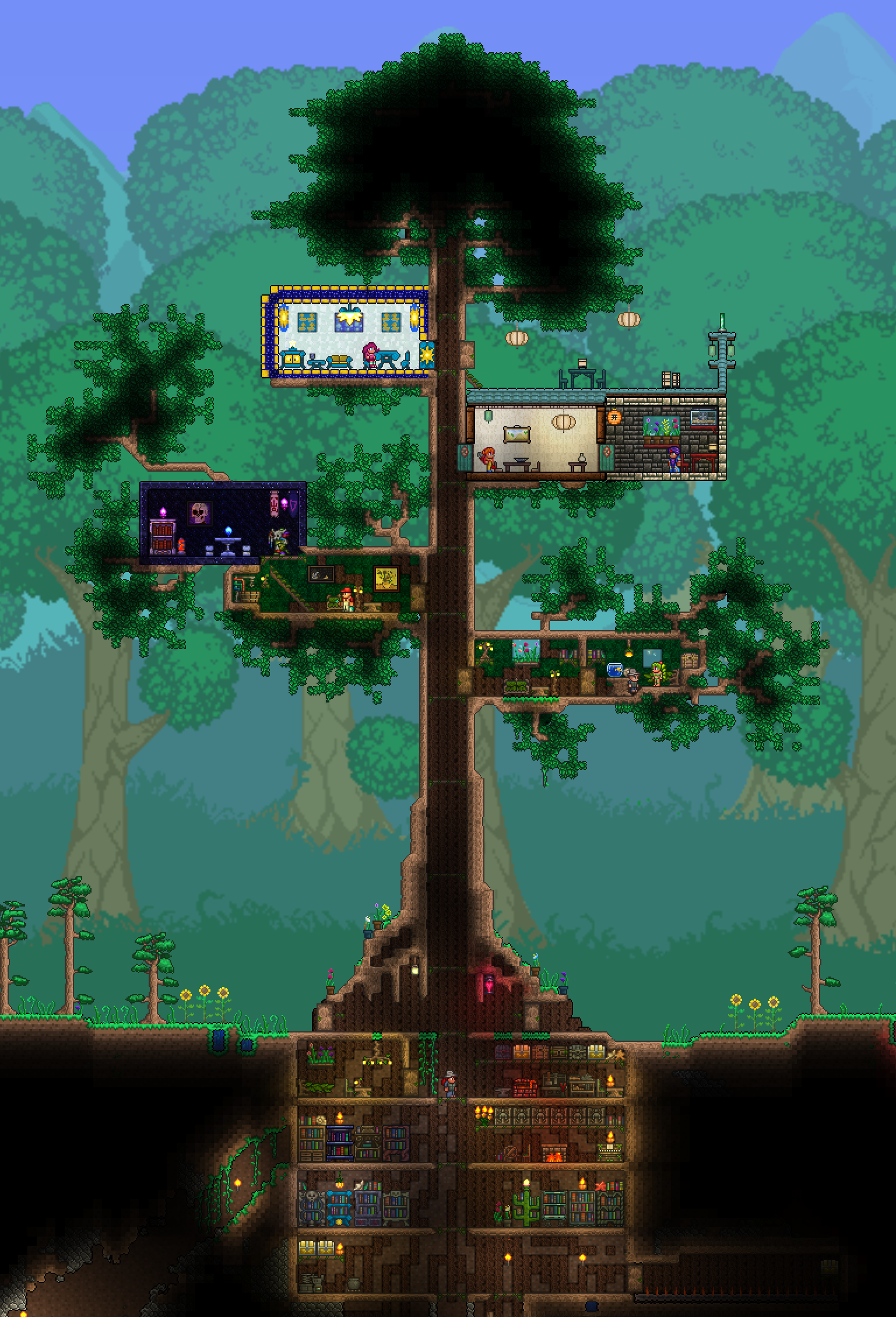Terraria npc treehouse originally this was my base and all my crafting stations were in the roots but i moved out once hardmode started
