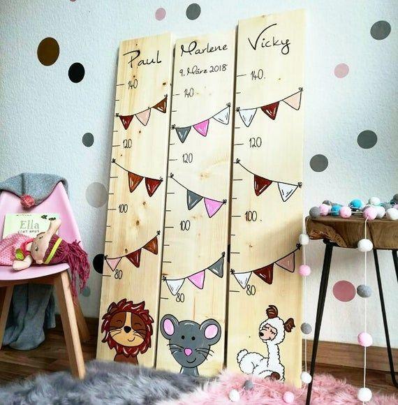 Messlatte Kinderzimmer Vintage Grow Wild Handbemalt individuell mit Namen und Geburtsdatum personalisiert Messlatte Mädchen Jungen GPGS