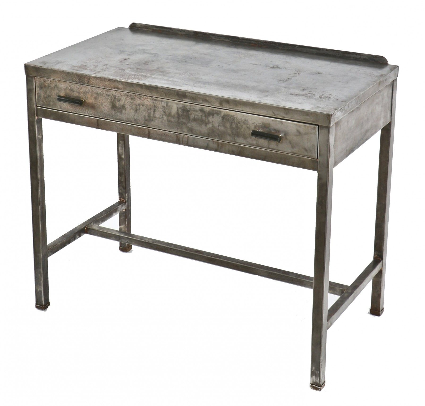 Refinished American Industrial Brushed Metal Simmons Single Drawer Hotel  Room Writing Desk With Original Cylindrical Shaped Drawer Pulls Or Handles