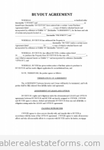 Printable Buyout Agreement 2 Template 2015
