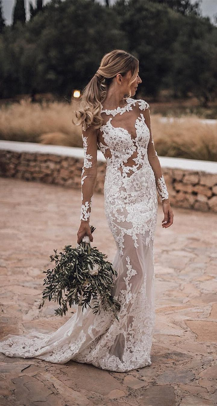 Atemberaubende Bateau Lace Brautkleider Mantel mit langen Ärmeln Kleider WD201
