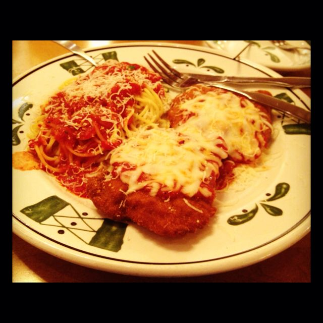 Chicken Parm with Spaghetti from Olive Garden