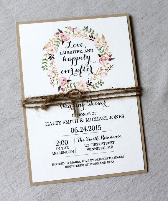 Wedding Invitations Ideas Pinterest: Rustic Bridal Shower Invitations Floral Bridal By