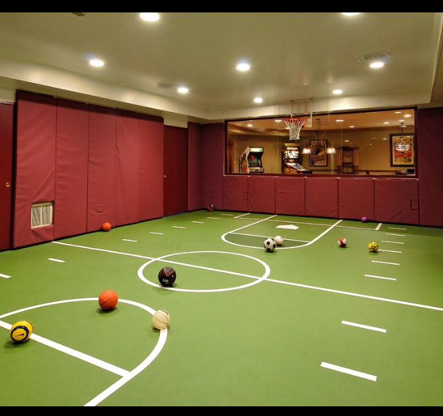 Mansion with indoor soccer field  15 Ideas for Indoor Home Basketball Courts | Pinball, Indoor and ...