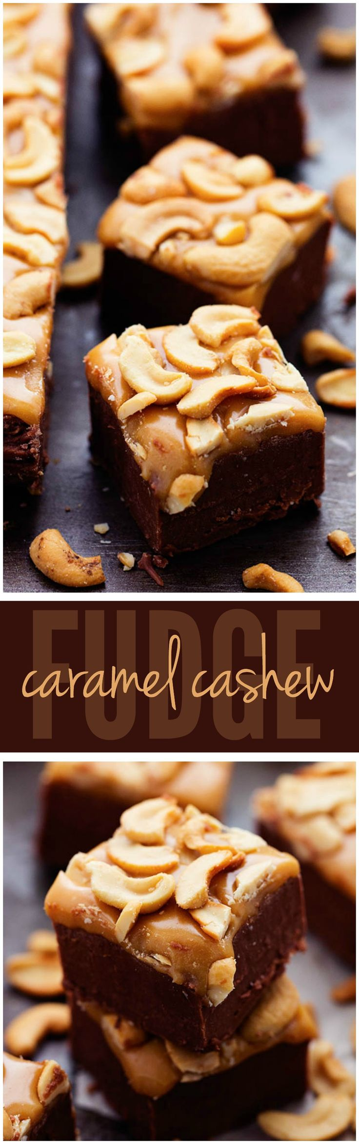 A rich chocolate fudge topped with caramel and cashews. All of my favorite things in one delicious and easy to make fudge!
