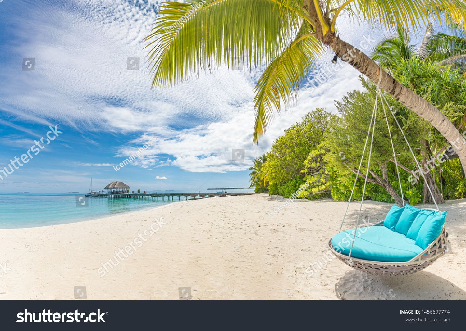 Tropical Beach Background As Summer Landscape With Beach Swing Or Hammock And White Sand And Calm Sea For Beac In 2020 Beach Background Summer Landscape Tropical Beach