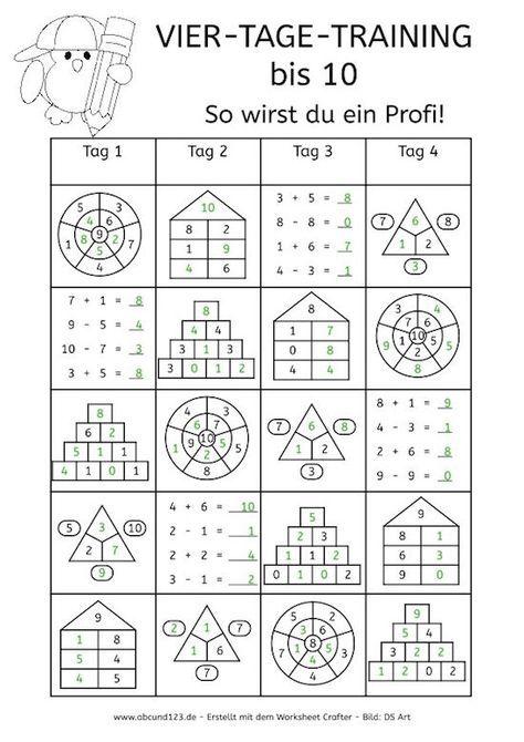 Vier-Tage-Mathe-Training (Zahlenraum bis 10) - | Teaching art, Pre ...
