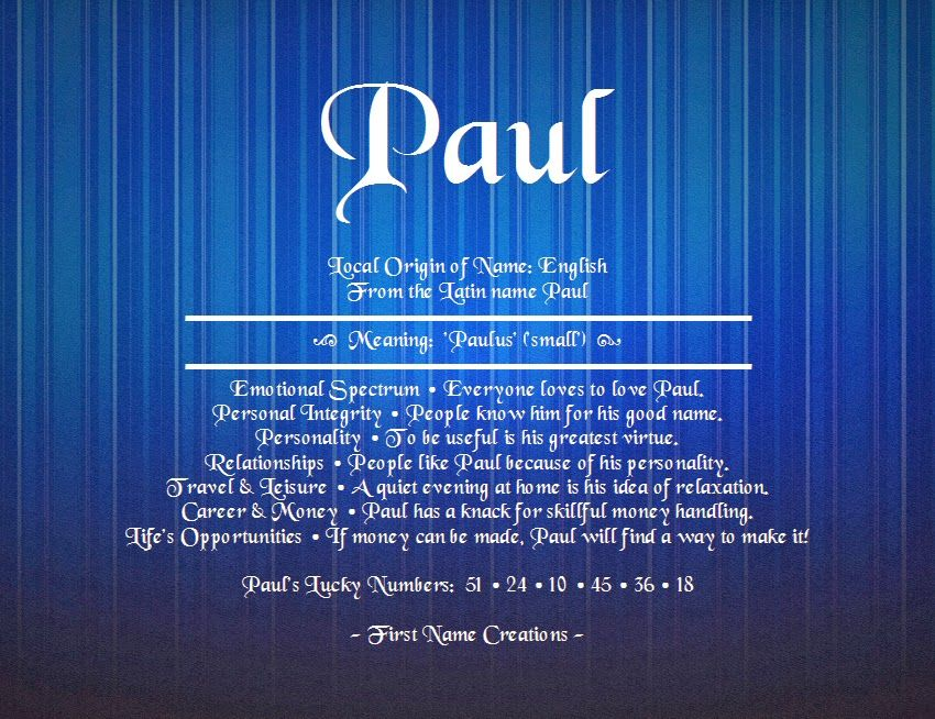 Paul Name Meaning First Name Creations Names with