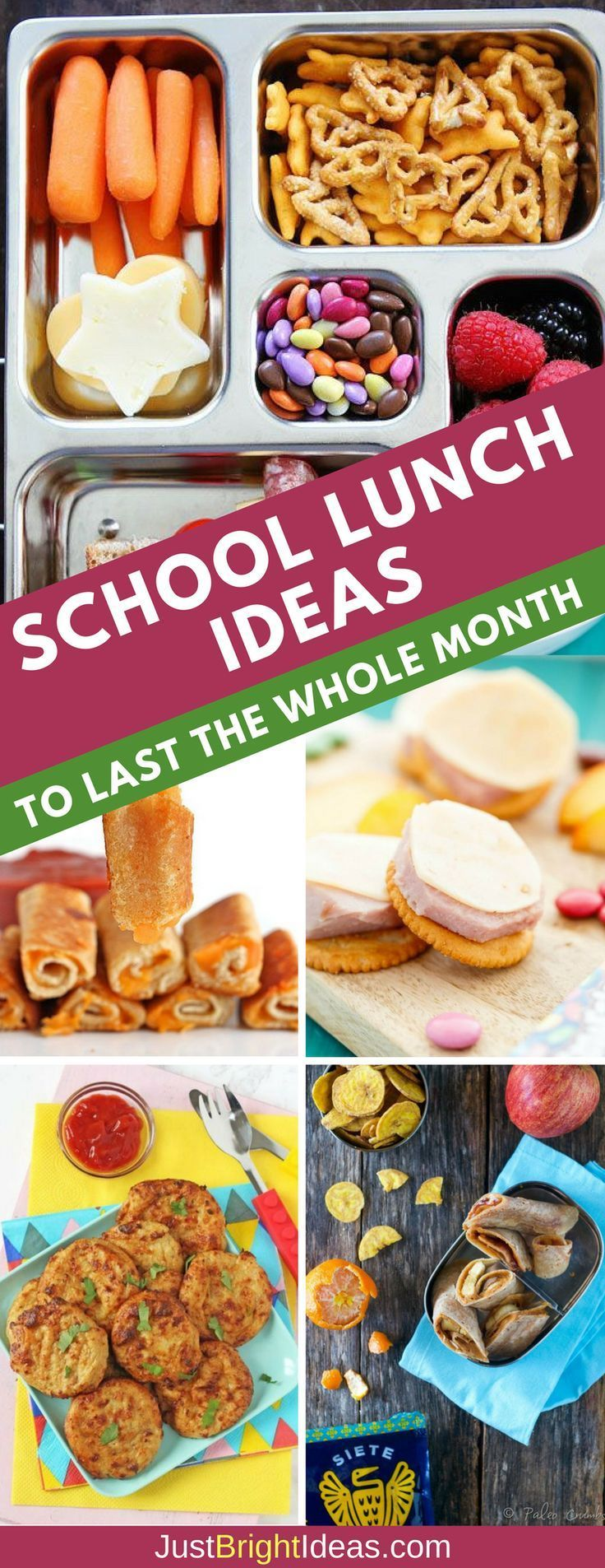 Easy School Lunch Ideas for Kids - One Whole Month of Ideas with No Repeats! images