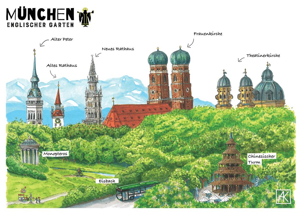 Englischer Style panorama münchen englischer garten postkarte sketches munich and city
