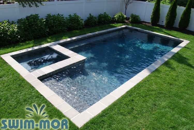 Rectangle Pool Designs With Spa Rectangle Pool Pools Backyard Inground Geometric Pool
