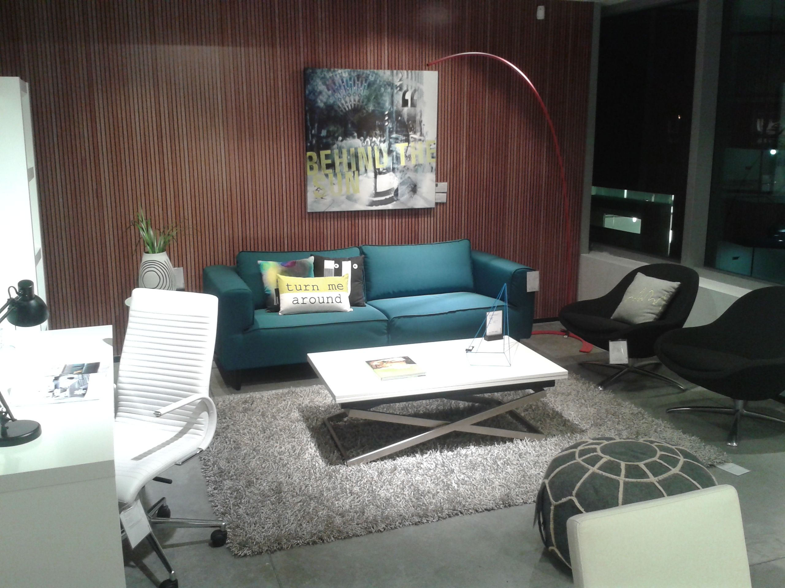 BoConcept Arco sofa with Rubi coffee table and Veneto chairs