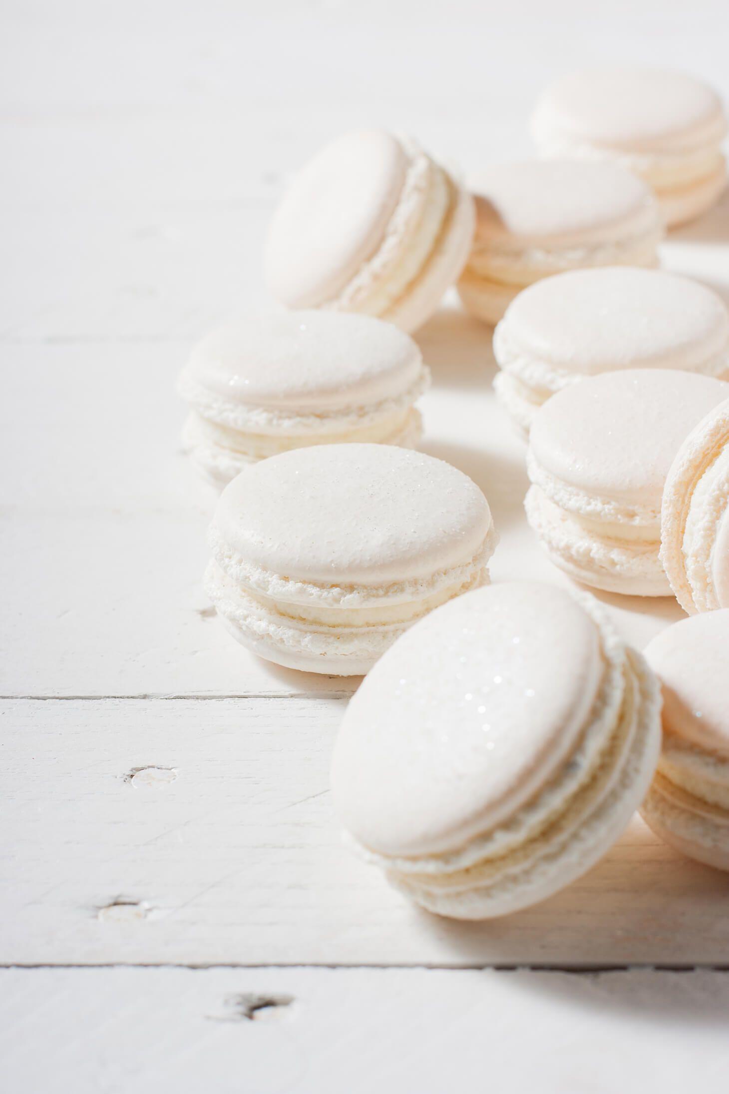 Winter White Macarons   Macaroons, White food coloring, Macarons