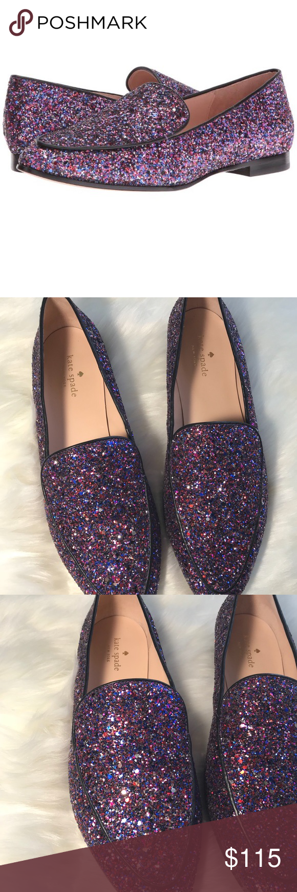 7ff7dd3ecda Kate Spade New York Calliope Women s Shoes Purple Multi Glitter Black. Size  10 Classic point-toe loafers dusted ...