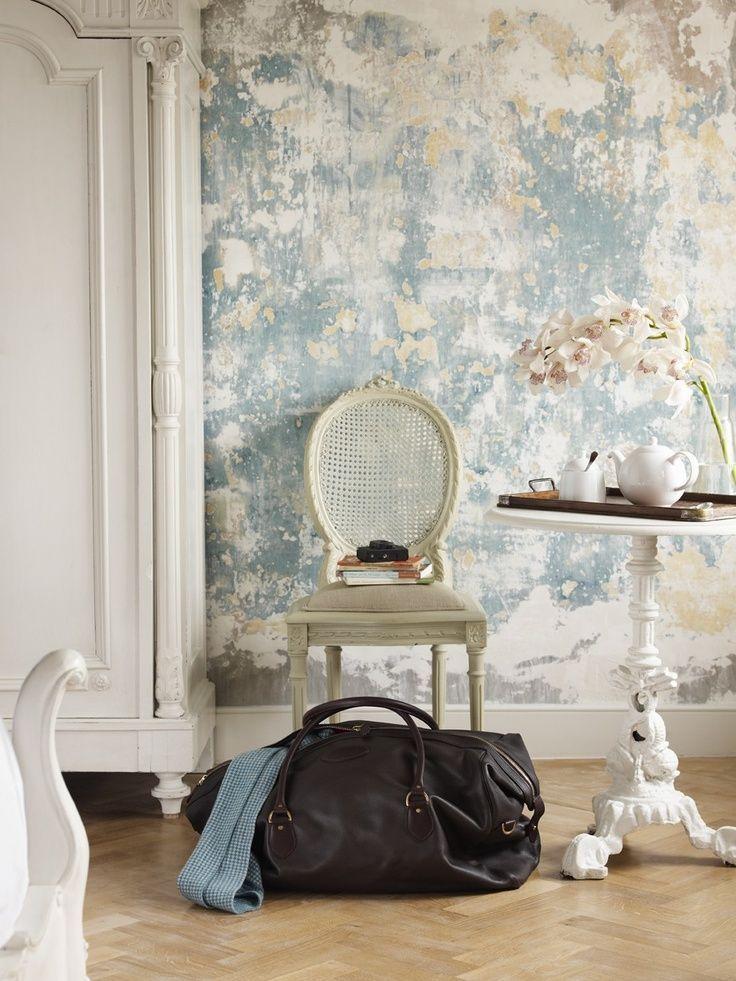 Romantic Retro Part I Little Blue Deer Custom Blog Design And Website Design Peeling Wall Distressed Walls Faux Walls