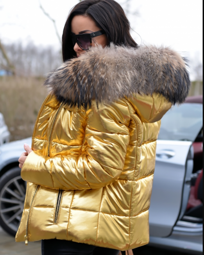 ac8aa3654 Gold Color Thicken Short Down Coat in 2019 | Roiii Down parka faux ...