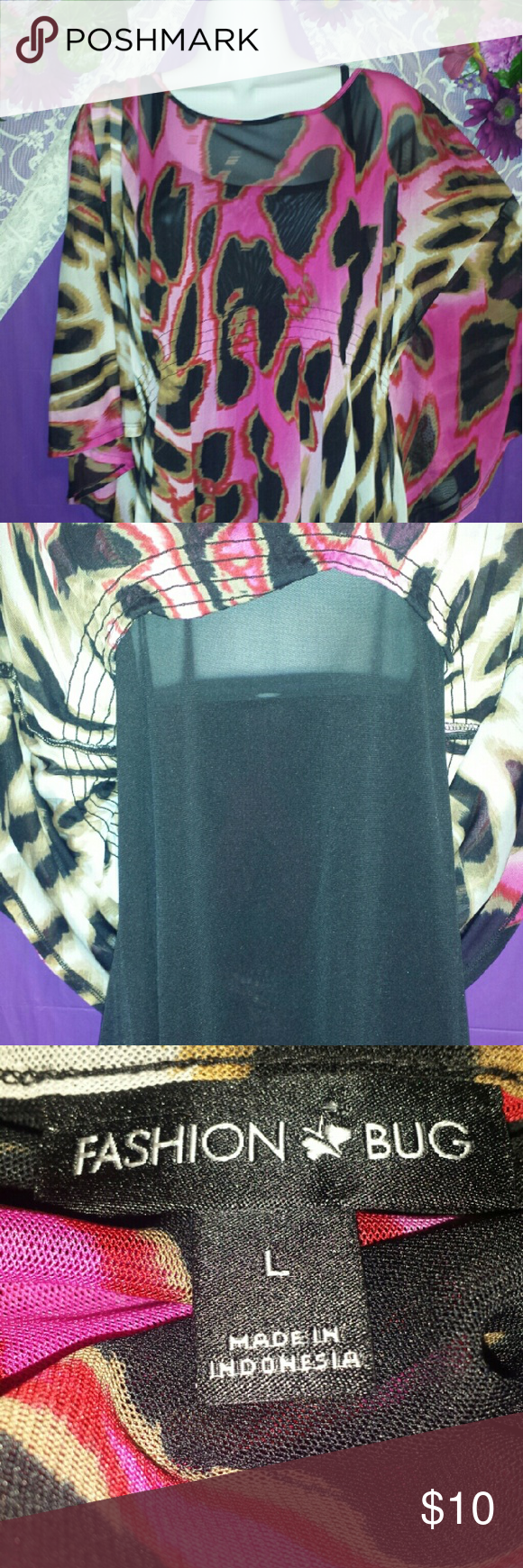 FB STUNNING SHEER LEOPARD Comes with attached black Cami (Picture 2). Flawless. Falls at hipline. Stretchy fabric.  Batwing  quarter length sleeves. Flawless. LIKE NEW Fashion Bug Tops Tunics