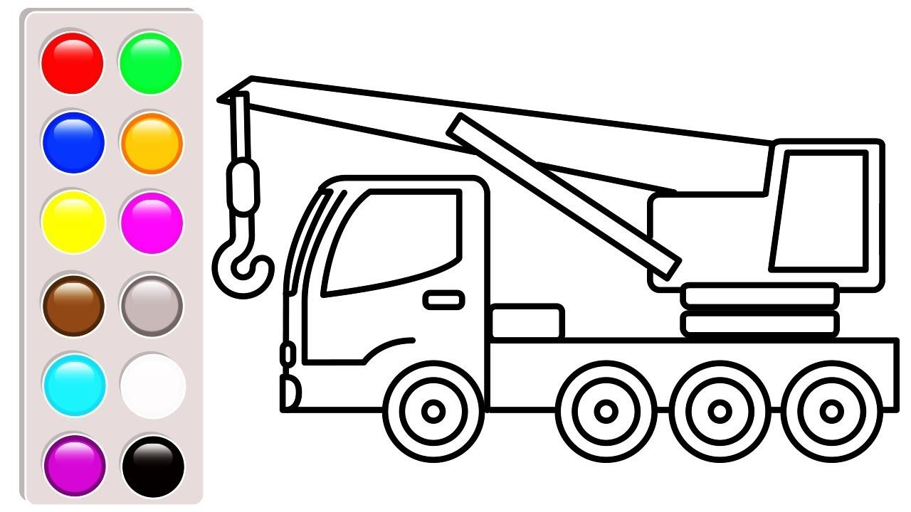 Crane Truck Coloring Pages Learn Colors With Construction Truck