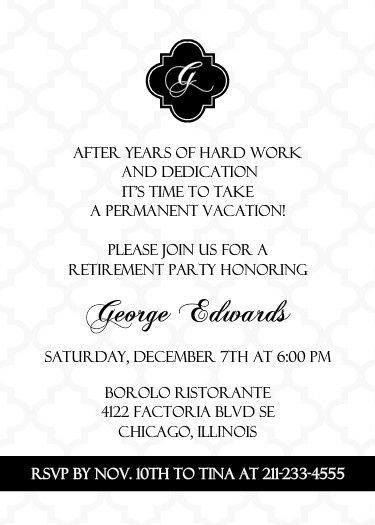 Black And White Formal Retirement Invitation ~ Retirement Party - best of formal invitation card for meeting
