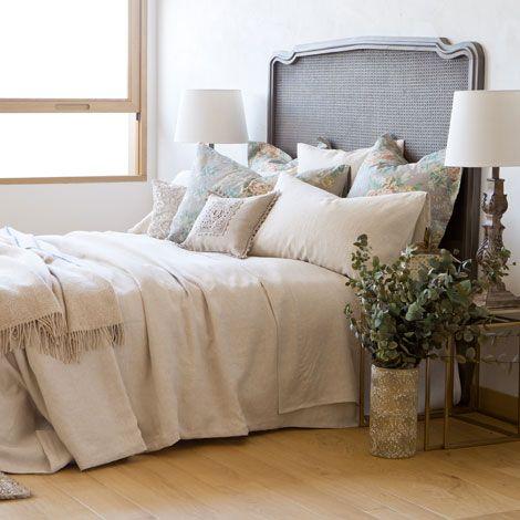 Linge de lit lin couleur naturelle zara home france for Biancheria per letto matrimoniale