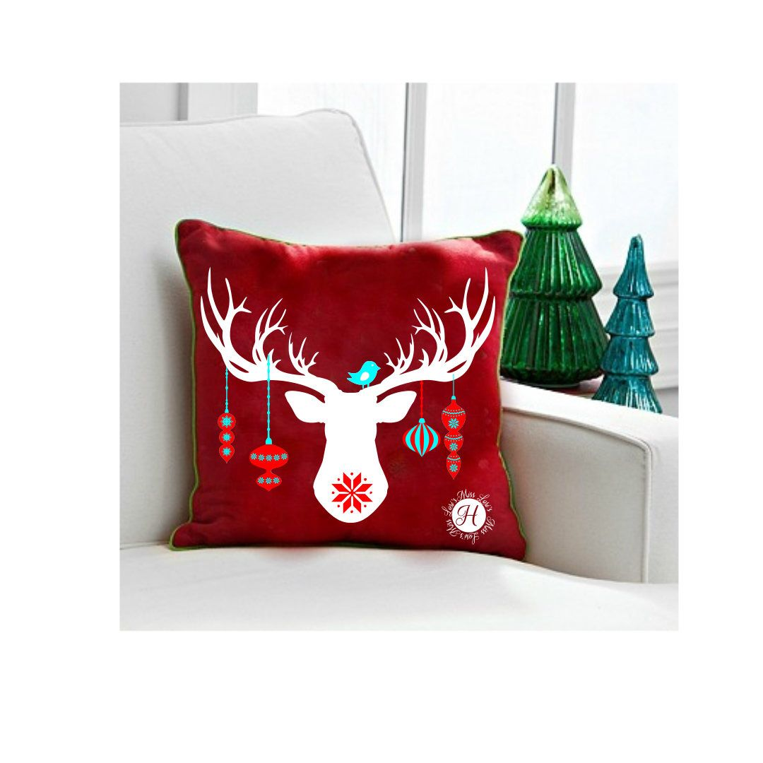 Buck Head Ornaments Christmas Deer Pillow Desgin Svg Cut File