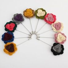 2015 New Arrival Men Lapel Flower Rose Mixed Color Handmade Boutonniere Stick Brooch Pin Men Suit Accessories 8 Kind Of Pattern(China (Mainland))
