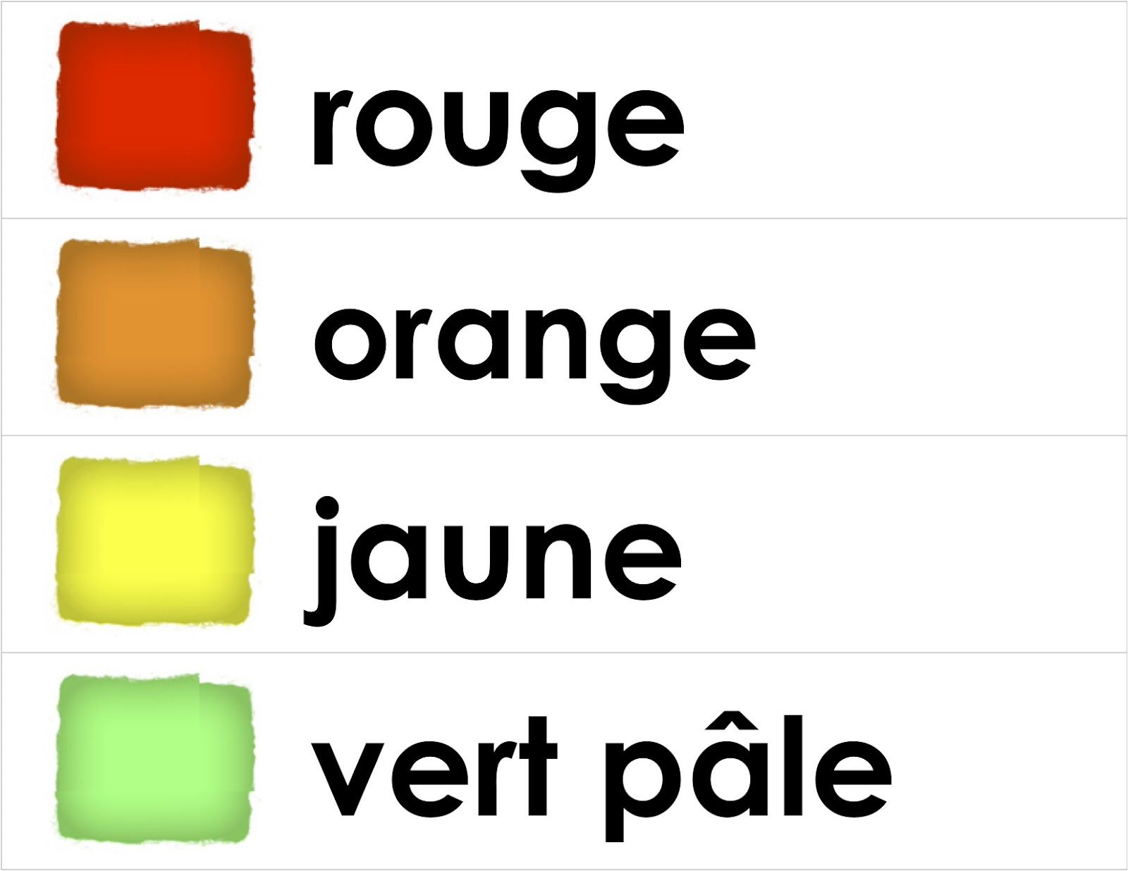 Colour Word Strips Madame Belle Feuille