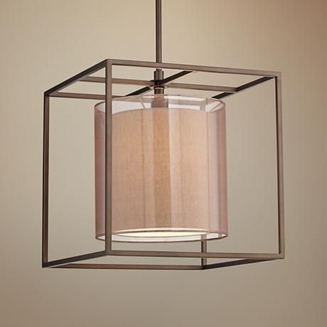 An Open Square Frame In Metal Construction Surrounds A Double Sheer Drum  Shade In This Modern Cube Pendant Light Design.