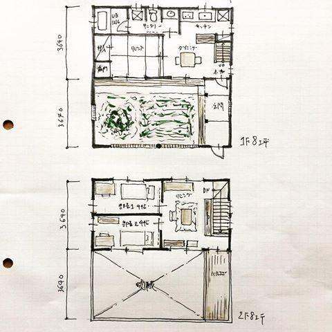 32坪の間取り 家庭菜園のできる中庭がある間取り 住居スペースは
