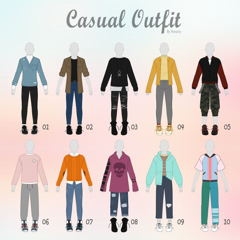 Open 3 10 Casual Outfit Adopts 30 Male By Rosariy Drawing Clothes Drawing Anime Clothes Anime Outfits
