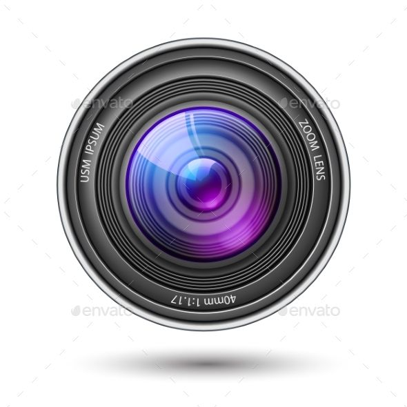 Realistic Camera Lens with Reflections Vector Vector EPS