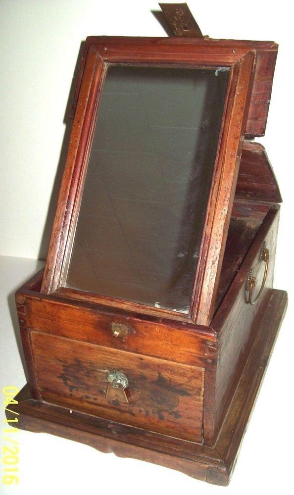 antique civil war era vanity mirror dresser box with drawer shaving mirror mirrored dresser. Black Bedroom Furniture Sets. Home Design Ideas